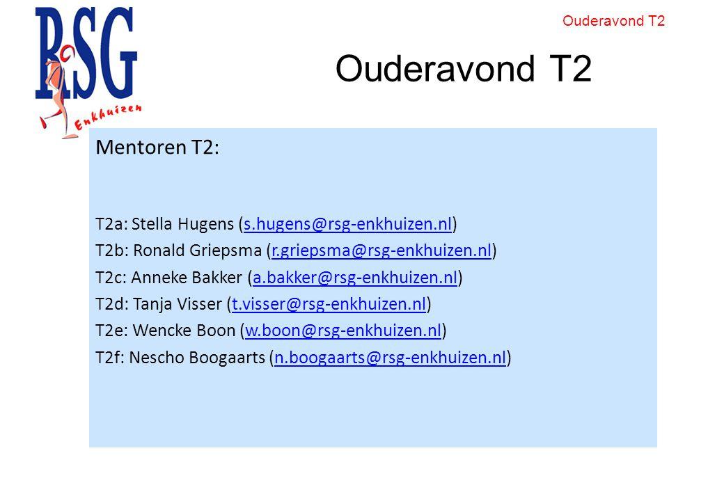 Ouderavond T2 Mentoren T2: T2a: Stella Hugens (s.hugens@rsg-enkhuizen.nl)s.hugens@rsg-enkhuizen.nl T2b: Ronald Griepsma (r.griepsma@rsg-enkhuizen.nl)r