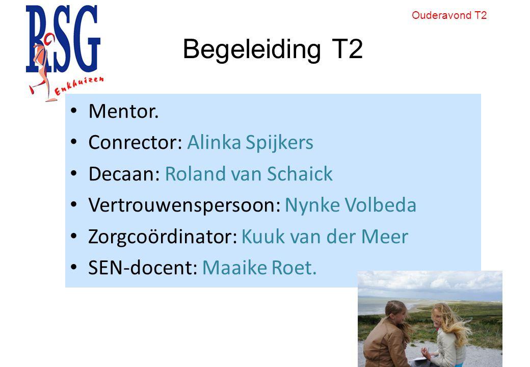 Begeleiding T2 Mentor. Conrector: Alinka Spijkers Decaan: Roland van Schaick Vertrouwenspersoon: Nynke Volbeda Zorgcoördinator: Kuuk van der Meer SEN-