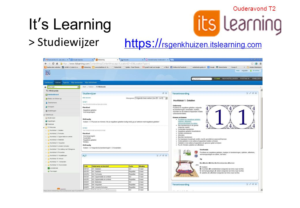 It's Learning > Studiewijzer https:// rsgenkhuizen.itslearning.com Ouderavond T2