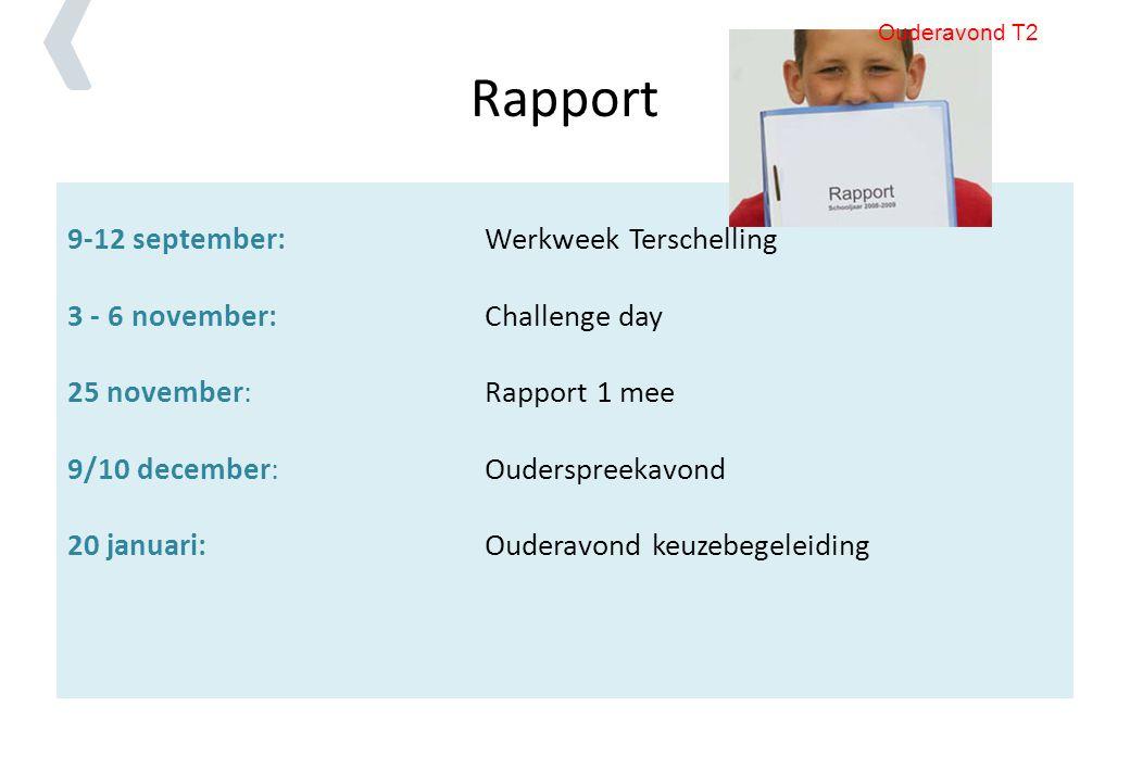 Rapport 9-12 september:Werkweek Terschelling 3 - 6 november:Challenge day 25 november: Rapport 1 mee 9/10 december: Ouderspreekavond 20 januari: Ouder