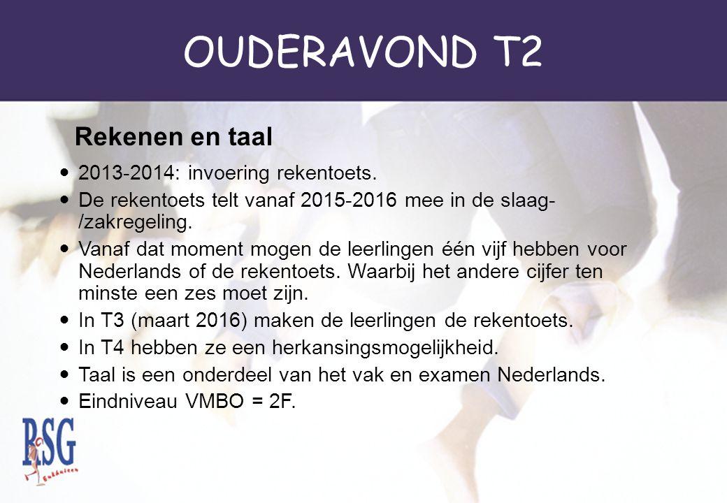 OUDERAVOND T2 2013-2014: invoering rekentoets. De rekentoets telt vanaf 2015-2016 mee in de slaag- /zakregeling. Vanaf dat moment mogen de leerlingen