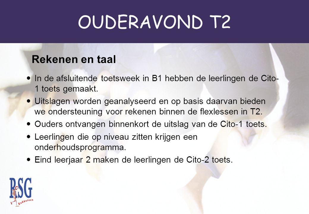 OUDERAVOND T2 In de afsluitende toetsweek in B1 hebben de leerlingen de Cito- 1 toets gemaakt. Uitslagen worden geanalyseerd en op basis daarvan biede