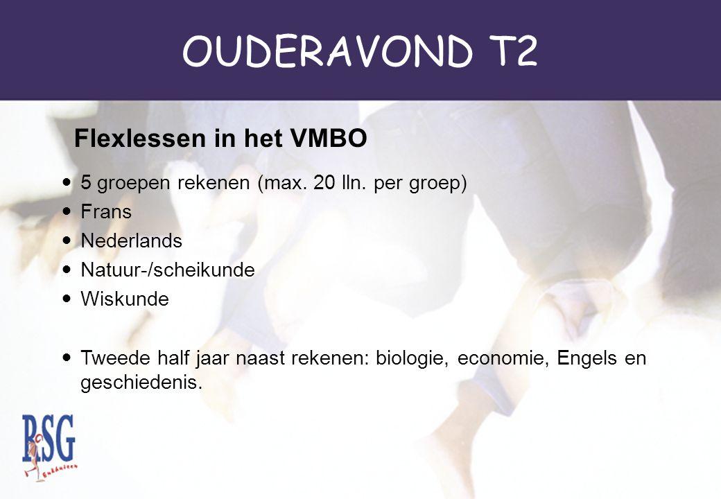 OUDERAVOND T2 5 groepen rekenen (max. 20 lln. per groep) Frans Nederlands Natuur-/scheikunde Wiskunde Tweede half jaar naast rekenen: biologie, econom