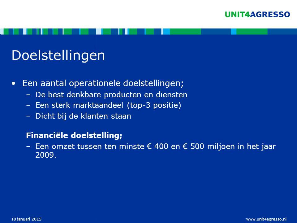 www.unit4agresso.nl10 januari 2015 Doelstellingen Een aantal operationele doelstellingen; –De best denkbare producten en diensten –Een sterk marktaandeel (top-3 positie) –Dicht bij de klanten staan Financiële doelstelling; –Een omzet tussen ten minste € 400 en € 500 miljoen in het jaar 2009.