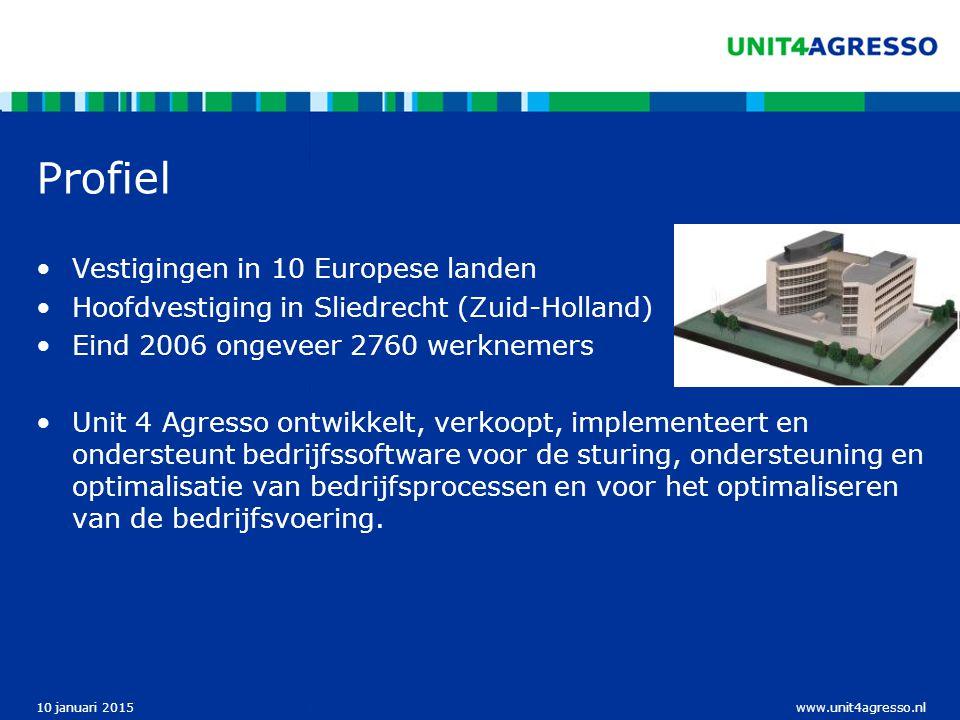www.unit4agresso.nl10 januari 2015 Profiel Vestigingen in 10 Europese landen Hoofdvestiging in Sliedrecht (Zuid-Holland) Eind 2006 ongeveer 2760 werkn