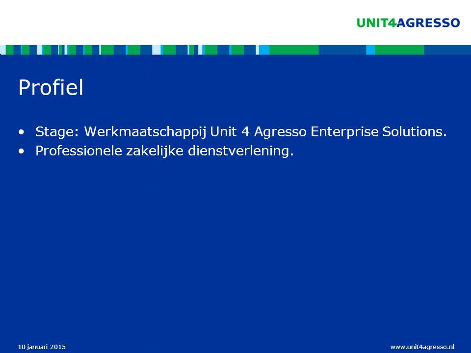 www.unit4agresso.nl10 januari 2015 Bedrijfsstructuur Unit 4 Agresso werkt met een werkmaatschappijen structuur.