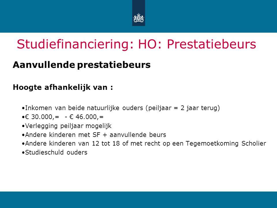 Studiefinanciering: HO: Prestatiebeurs Aanvullende prestatiebeurs Hoogte afhankelijk van : Inkomen van beide natuurlijke ouders (peiljaar = 2 jaar ter