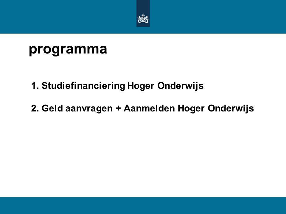 programma 1. Studiefinanciering Hoger Onderwijs 2. Geld aanvragen + Aanmelden Hoger Onderwijs