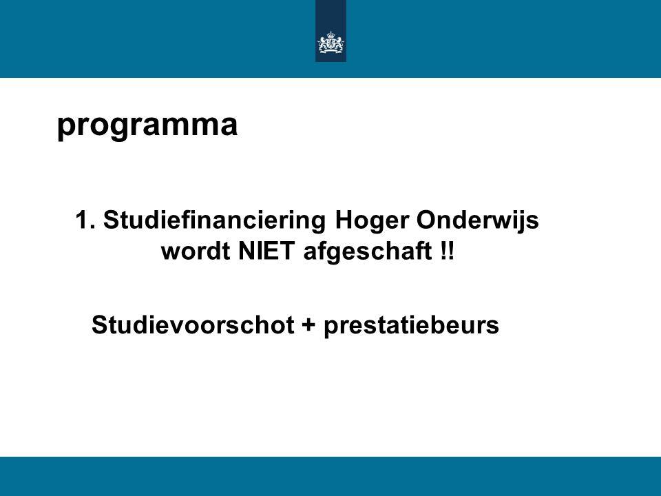 programma 1. Studiefinanciering Hoger Onderwijs wordt NIET afgeschaft !! Studievoorschot + prestatiebeurs