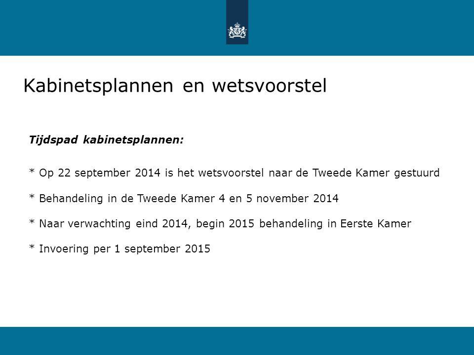 Kabinetsplannen en wetsvoorstel Tijdspad kabinetsplannen: * Op 22 september 2014 is het wetsvoorstel naar de Tweede Kamer gestuurd * Behandeling in de