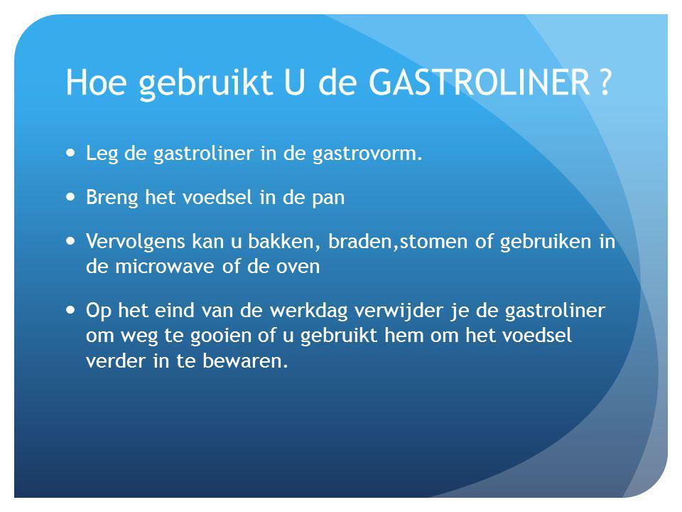 Hoe gebruikt U de GASTROLINER ? Leg de gastroliner in de gastrovorm. Breng het voedsel in de pan Vervolgens kan u bakken, braden,stomen of gebruiken i