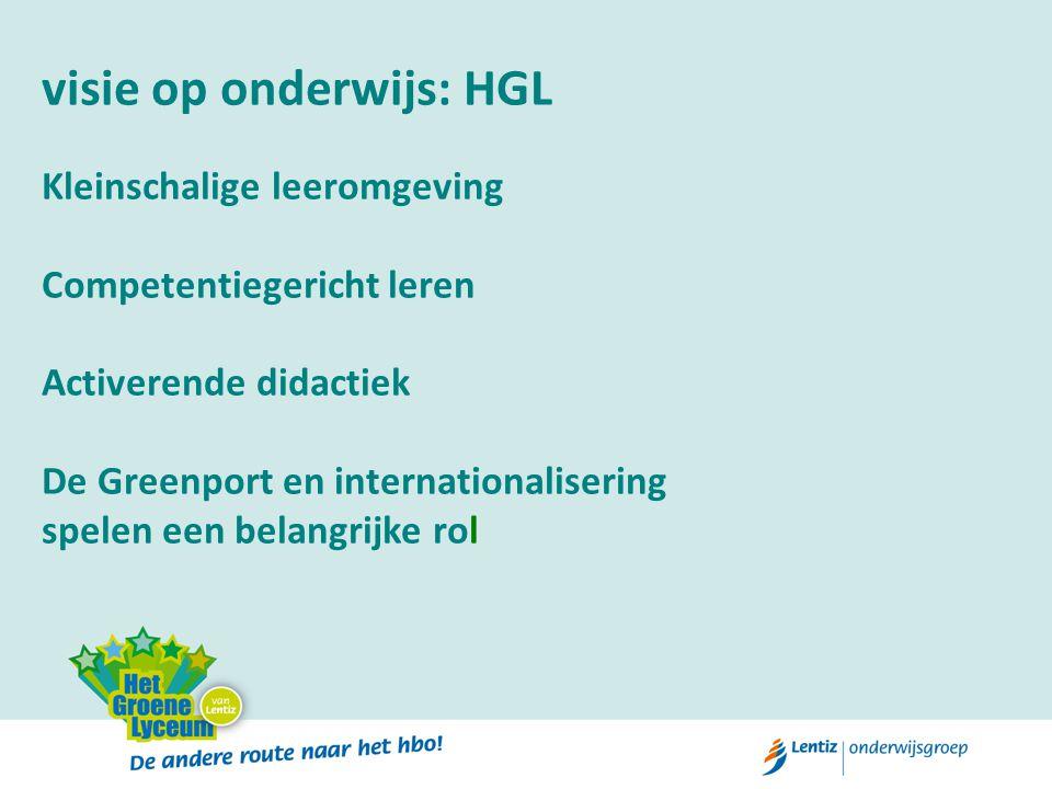 visie op onderwijs: HGL Kleinschalige leeromgeving Competentiegericht leren Activerende didactiek De Greenport en internationalisering spelen een bela