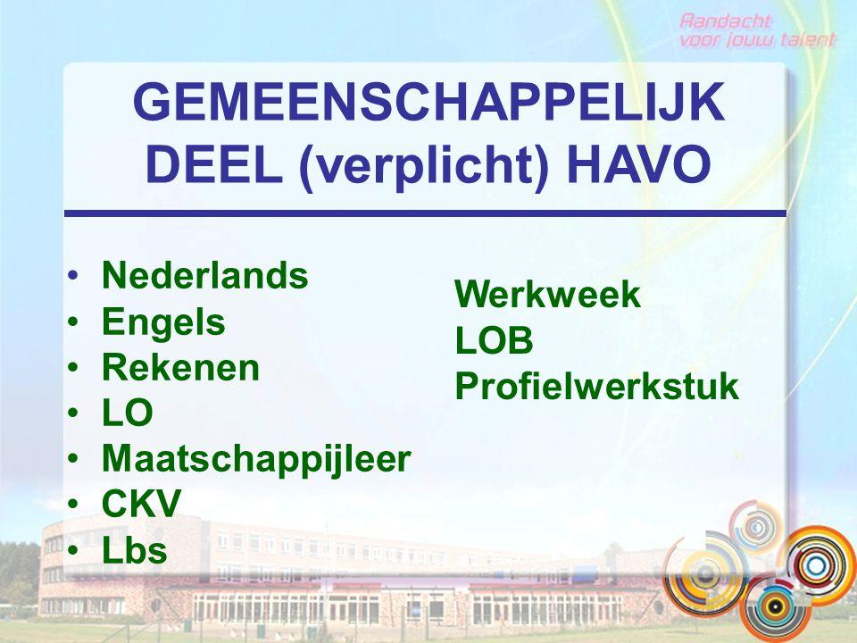GEMEENSCHAPPELIJK DEEL (verplicht) HAVO Nederlands Engels Rekenen LO Maatschappijleer CKV Lbs Werkweek LOB Profielwerkstuk