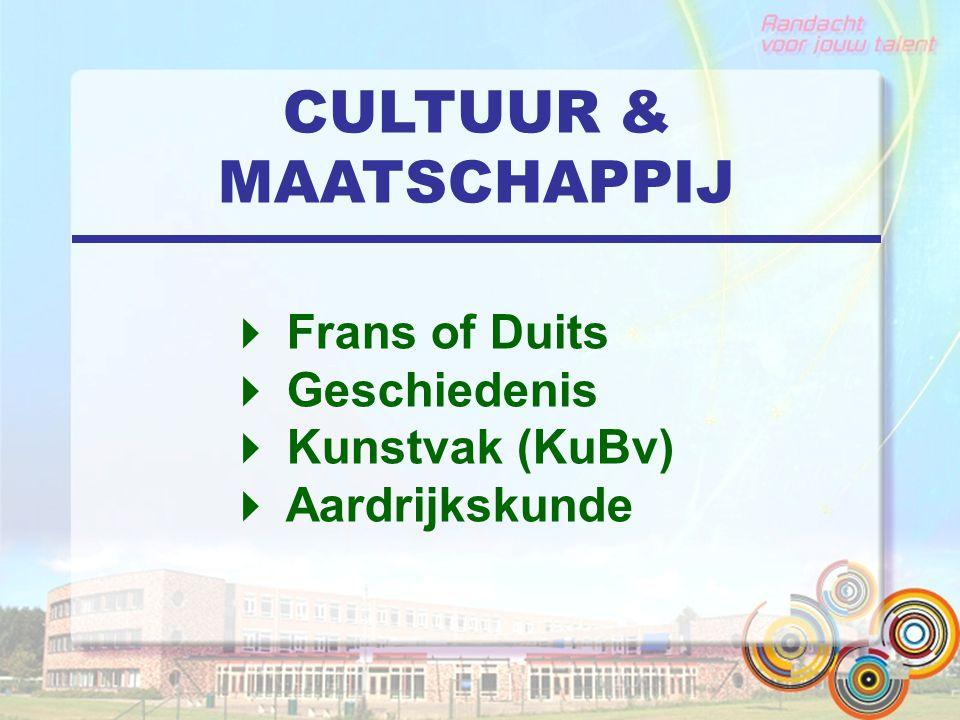 CULTUUR & MAATSCHAPPIJ  Frans of Duits  Geschiedenis  Kunstvak (KuBv)  Aardrijkskunde
