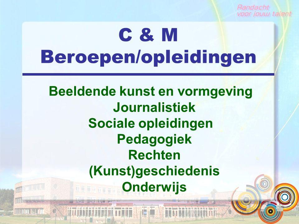 C & M Beroepen/opleidingen Beeldende kunst en vormgeving Journalistiek Sociale opleidingen Pedagogiek Rechten (Kunst)geschiedenis Onderwijs
