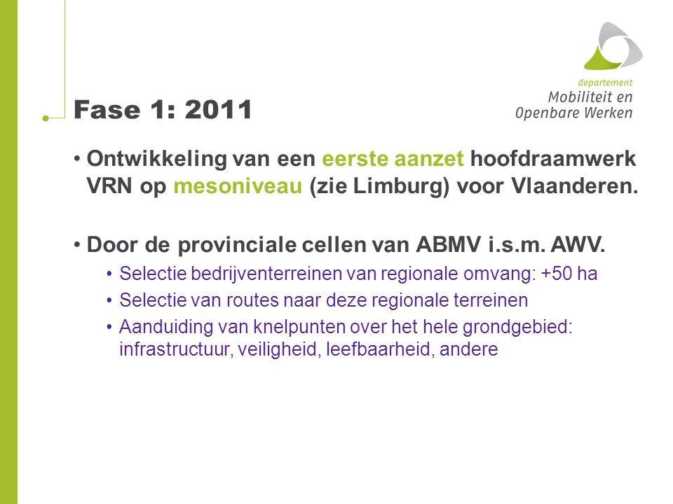Fase 1: 2011 Afstemming op ambtelijk niveau over de provincie-grenzen heen en samenstelling hoofdraamwerk Vlaams vrachtroutenetwerk (zie kaart) Raadpleegbaar voor studiebureaus bestek met login, paswoord en privacy verklaring