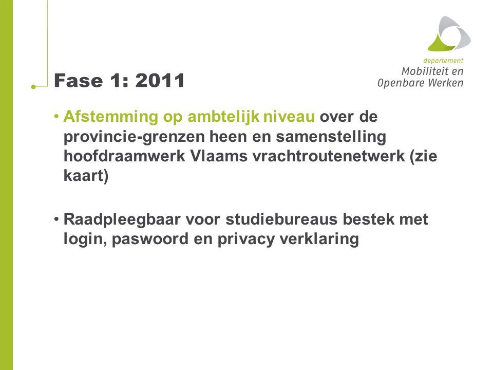 Fase 1: 2011 Bevraging gemeentebesturen (juli-sept 2011) Respons per provincie Antwerpen: 89 % Limburg: 91 % (gegevens 2009 en 2011) Oost-Vlaanderen: 82 % Vlaams-Brabant: 75 % West-Vlaanderen: 83 % Gemiddelde respons84 % (nasturen kan) Raadpleegbaar voor administraties en studiebureaus bestek met login en paswoord