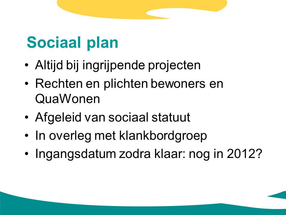 Sociaal plan Altijd bij ingrijpende projecten Rechten en plichten bewoners en QuaWonen Afgeleid van sociaal statuut In overleg met klankbordgroep Inga