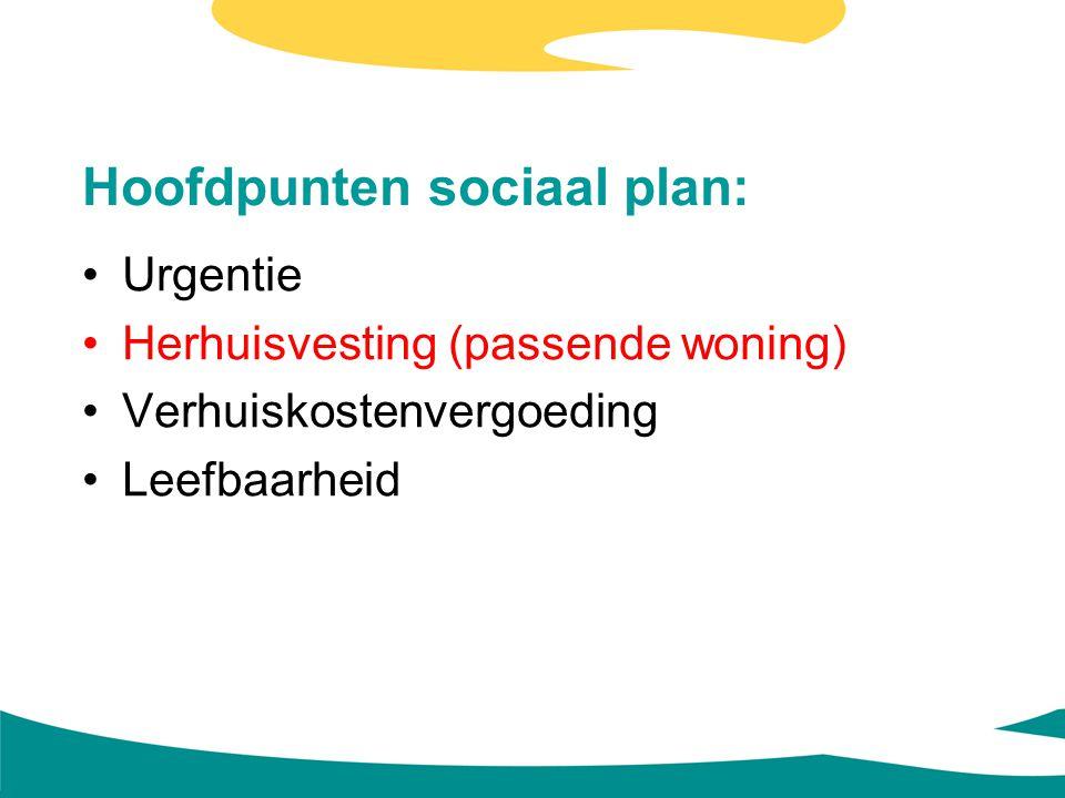 Hoofdpunten sociaal plan: Urgentie Herhuisvesting (passende woning) Verhuiskostenvergoeding Leefbaarheid