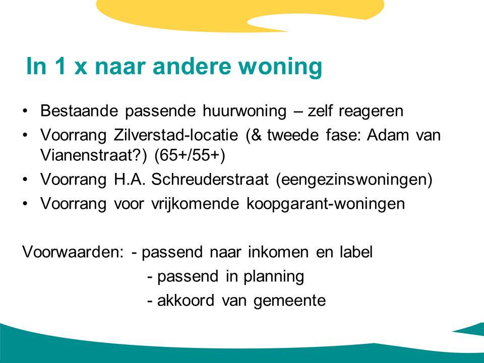 In 1 x naar andere woning Bestaande passende huurwoning – zelf reageren Voorrang Zilverstad-locatie (& tweede fase: Adam van Vianenstraat?) (65+/55+)