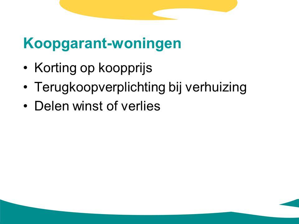 Koopgarant-woningen Korting op koopprijs Terugkoopverplichting bij verhuizing Delen winst of verlies