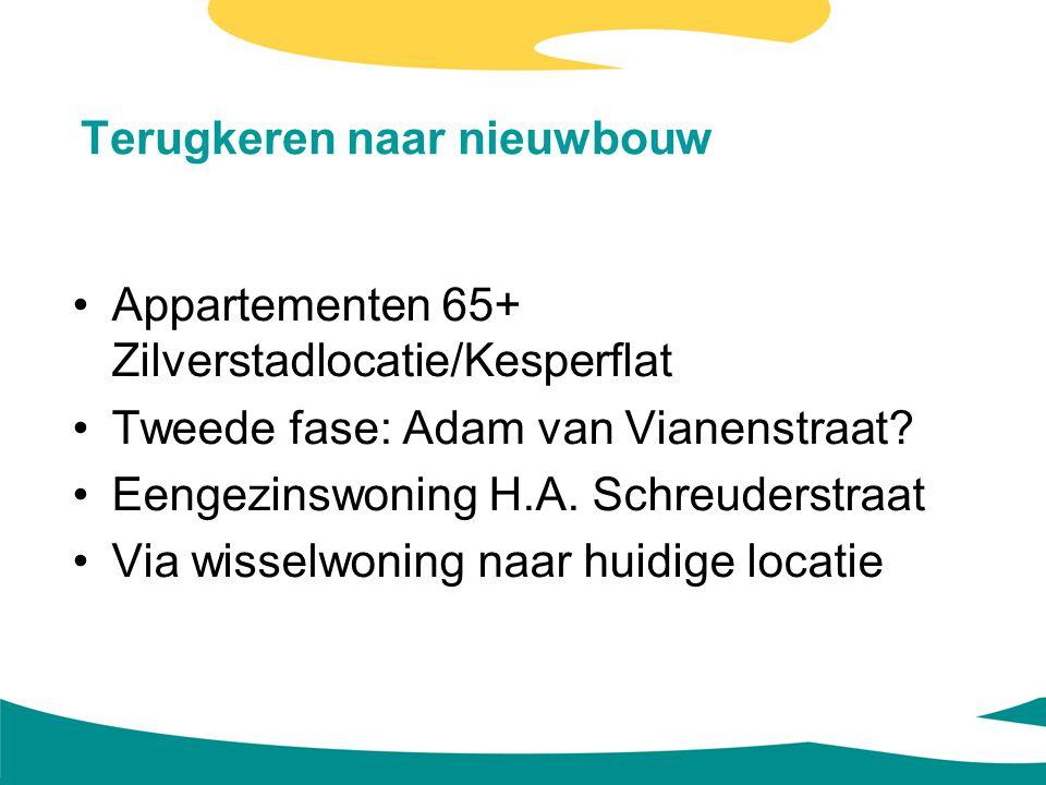 Terugkeren naar nieuwbouw Appartementen 65+ Zilverstadlocatie/Kesperflat Tweede fase: Adam van Vianenstraat? Eengezinswoning H.A. Schreuderstraat Via