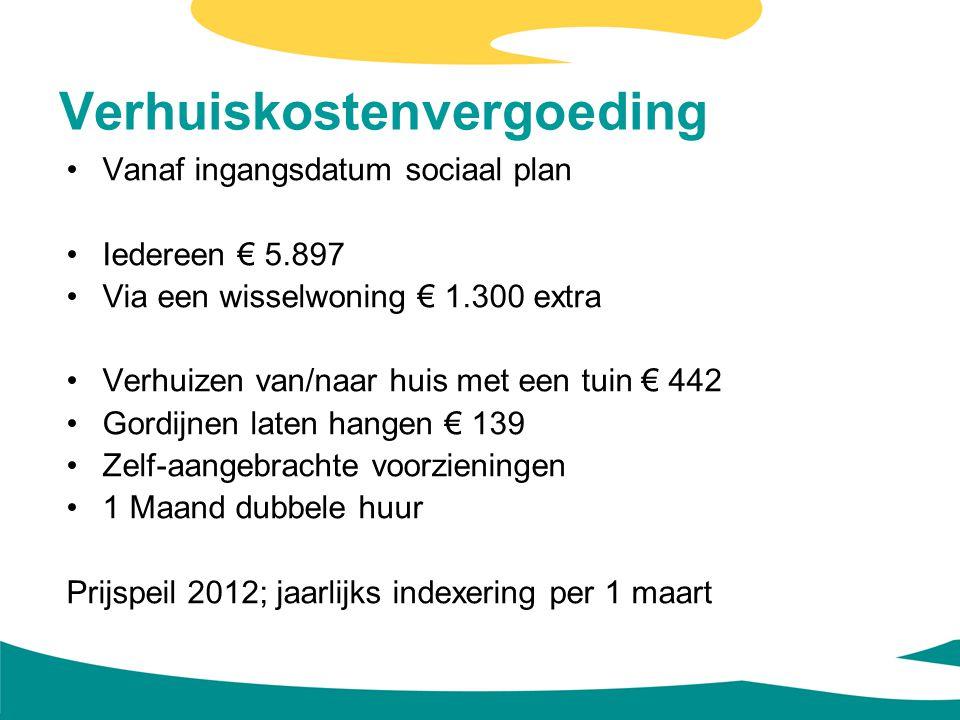 Verhuiskostenvergoeding Vanaf ingangsdatum sociaal plan Iedereen € 5.897 Via een wisselwoning € 1.300 extra Verhuizen van/naar huis met een tuin € 442