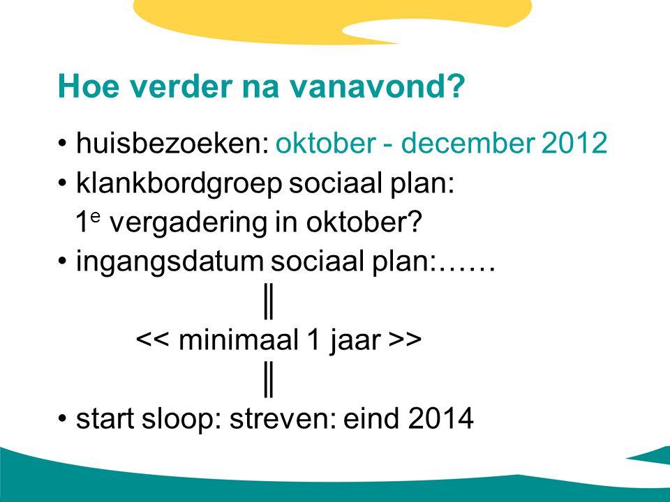 Hoe verder na vanavond? huisbezoeken: oktober - december 2012 klankbordgroep sociaal plan: 1 e vergadering in oktober? ingangsdatum sociaal plan:…… ║
