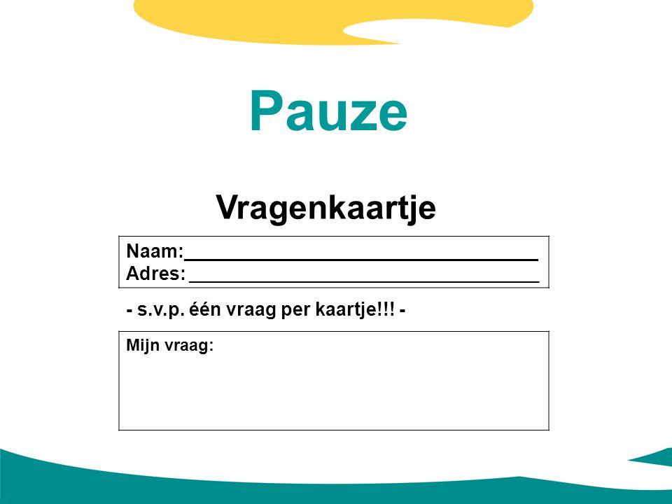 Pauze Vragenkaartje Naam:__________________________________ Adres: __________________________________________ - s.v.p. één vraag per kaartje!!! - Mijn
