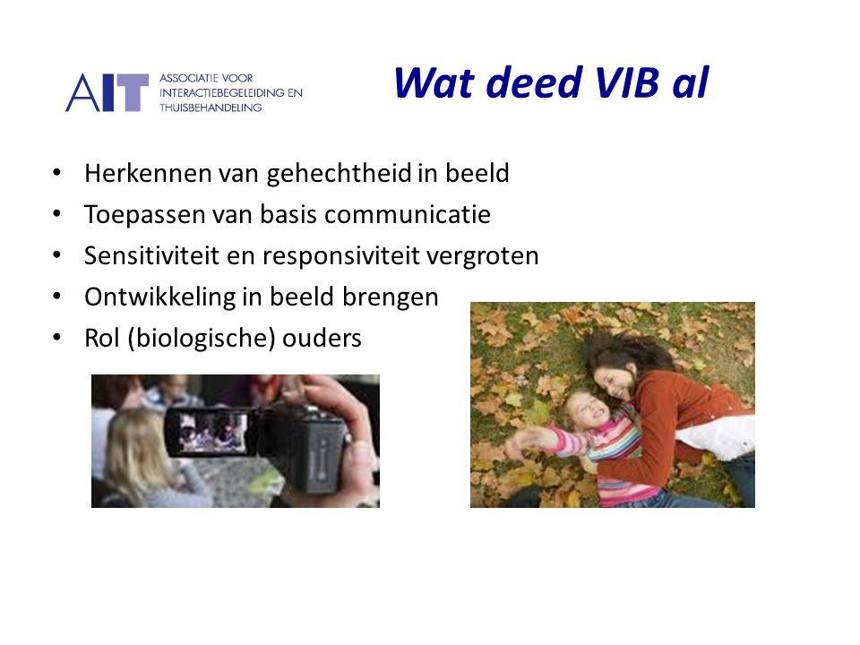 Wat deed VIB al Herkennen van gehechtheid in beeld Toepassen van basis communicatie Sensitiviteit en responsiviteit vergroten Ontwikkeling in beeld br
