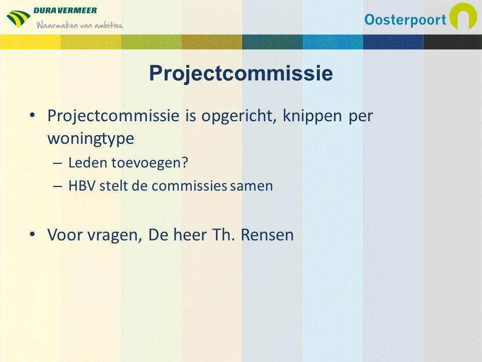 Projectcommissie is opgericht, knippen per woningtype – Leden toevoegen? – HBV stelt de commissies samen Voor vragen, De heer Th. Rensen Projectcommis