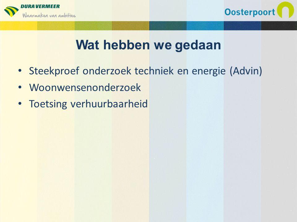 Steekproef onderzoek techniek en energie (Advin) Woonwensenonderzoek Toetsing verhuurbaarheid Wat hebben we gedaan