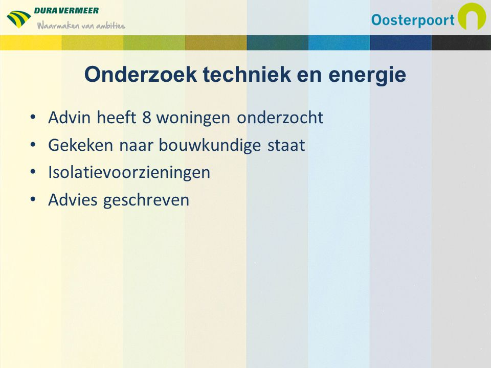Digitale enquête Hoge respons, bijna 70% Beleving van bewoners Wensen van bewoners Concrete verbeteringen in beeld gebracht Onderzoek woonwensen