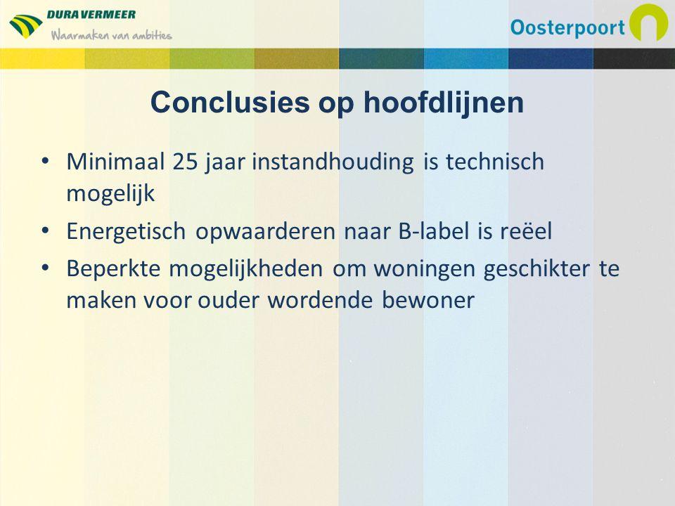 Minimaal 25 jaar instandhouding is technisch mogelijk Energetisch opwaarderen naar B-label is reëel Beperkte mogelijkheden om woningen geschikter te m