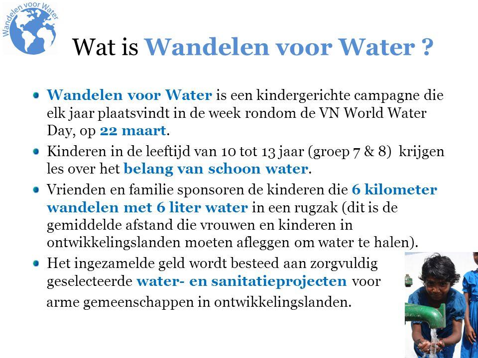 Wandelen voor Water is een kindergerichte campagne die elk jaar plaatsvindt in de week rondom de VN World Water Day, op 22 maart. Kinderen in de leeft