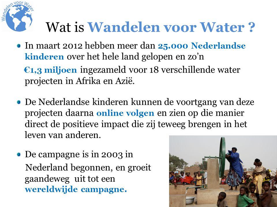 In maart 2012 hebben meer dan 25.000 Nederlandse kinderen over het hele land gelopen en zo'n €1,3 miljoen ingezameld voor 18 verschillende water projecten in Afrika en Azië.