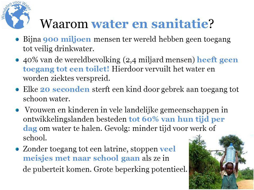 Waarom water en sanitatie? Bijna 900 miljoen mensen ter wereld hebben geen toegang tot veilig drinkwater. 40% van de wereldbevolking (2,4 miljard mens