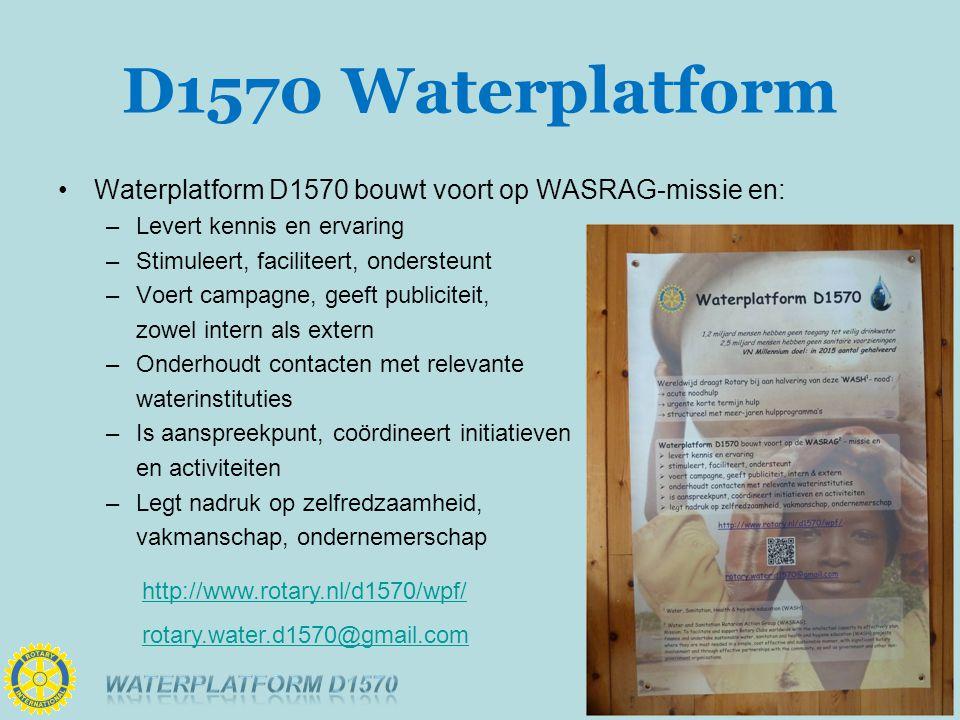 D1570 Waterplatform Waterplatform D1570 bouwt voort op WASRAG-missie en: –Levert kennis en ervaring –Stimuleert, faciliteert, ondersteunt –Voert campagne, geeft publiciteit, zowel intern als extern –Onderhoudt contacten met relevante waterinstituties –Is aanspreekpunt, coördineert initiatieven en activiteiten –Legt nadruk op zelfredzaamheid, vakmanschap, ondernemerschap http://www.rotary.nl/d1570/wpf/ rotary.water.d1570@gmail.com