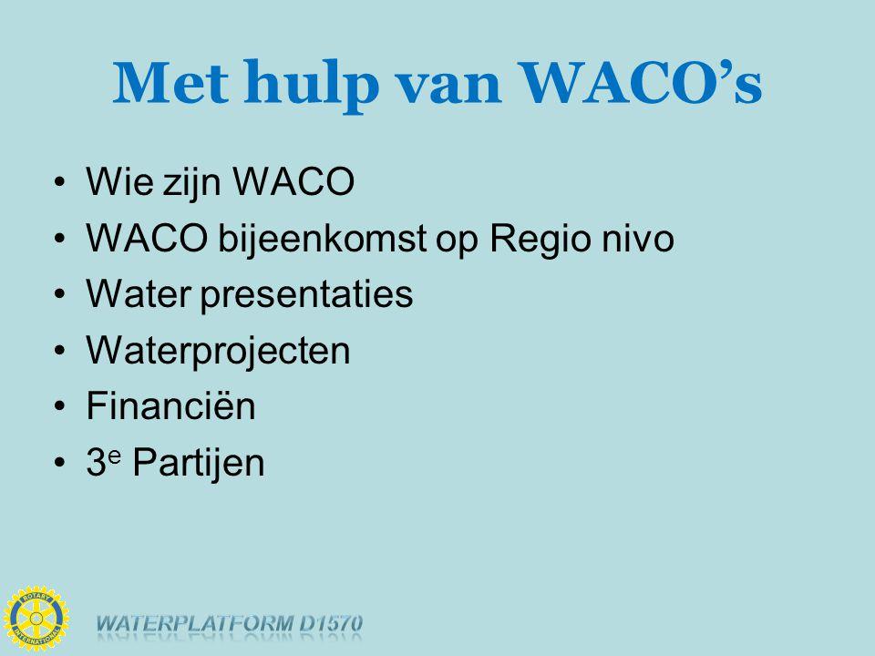 Met hulp van WACO's Wie zijn WACO WACO bijeenkomst op Regio nivo Water presentaties Waterprojecten Financiën 3 e Partijen