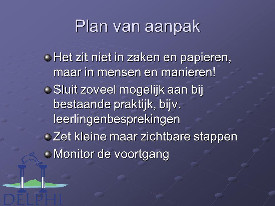 Plan van aanpak Het zit niet in zaken en papieren, maar in mensen en manieren.