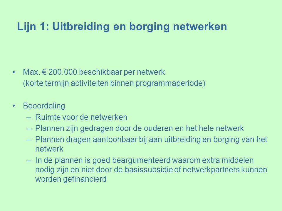 Lijn 1: Uitbreiding en borging netwerken Max.