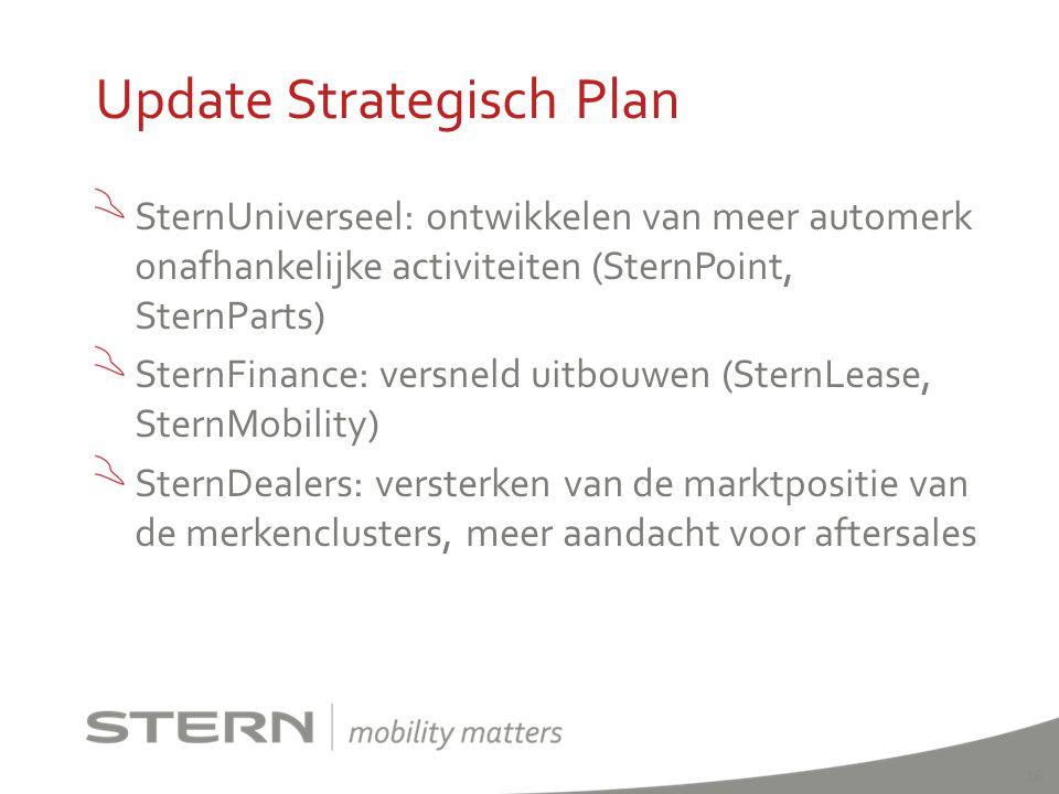 SternUniverseel: ontwikkelen van meer automerk onafhankelijke activiteiten (SternPoint, SternParts) SternFinance: versneld uitbouwen (SternLease, Ster