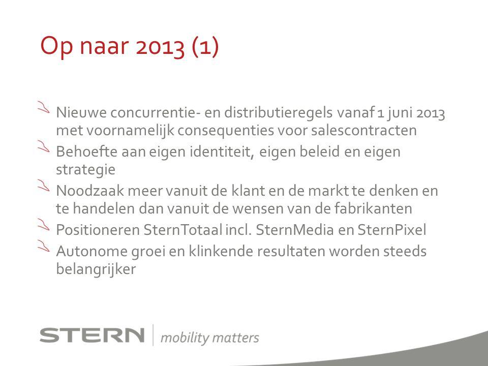Op naar 2013 (2) SternDealers Stern 1: autonoom groeien in groter rayon Stern 2: problemen fixen, alles uit de kast.