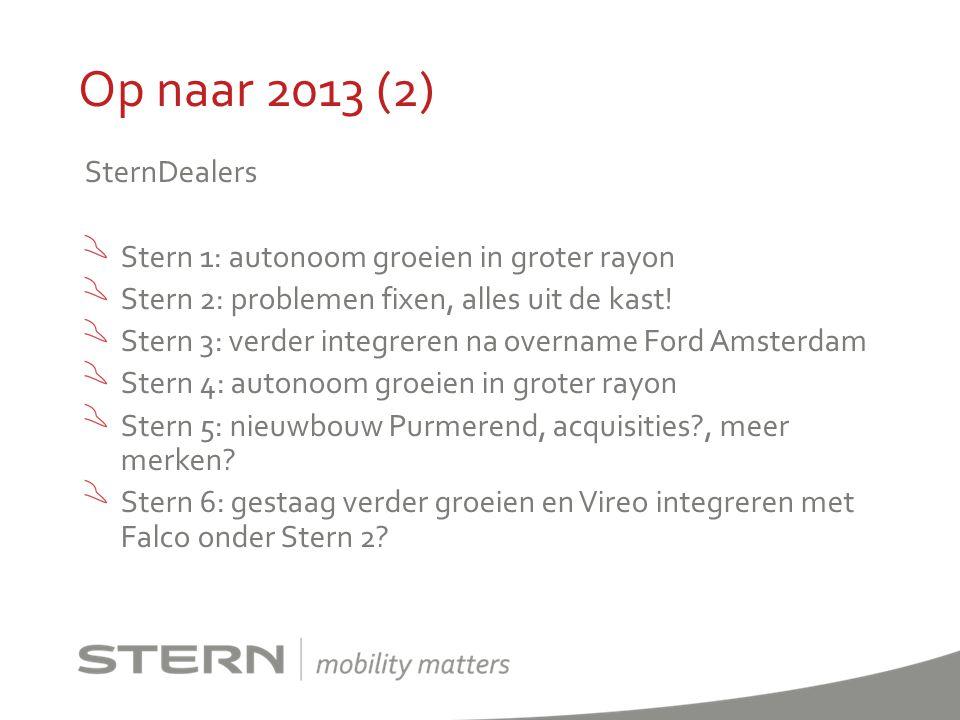 Op naar 2013 (2) SternDealers Stern 1: autonoom groeien in groter rayon Stern 2: problemen fixen, alles uit de kast! Stern 3: verder integreren na ove