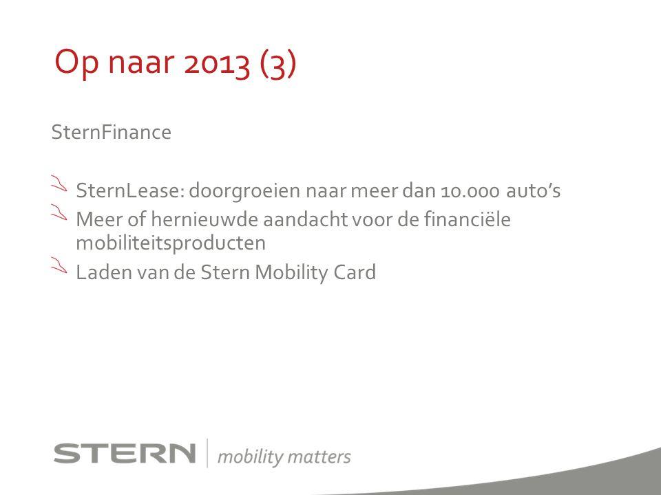 Op naar 2013 (3) SternFinance SternLease: doorgroeien naar meer dan 10.000 auto's Meer of hernieuwde aandacht voor de financiёle mobiliteitsproducten