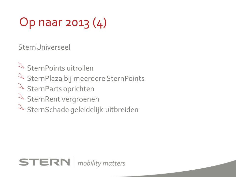 Op naar 2013 (4) SternUniverseel SternPoints uitrollen SternPlaza bij meerdere SternPoints SternParts oprichten SternRent vergroenen SternSchade gelei