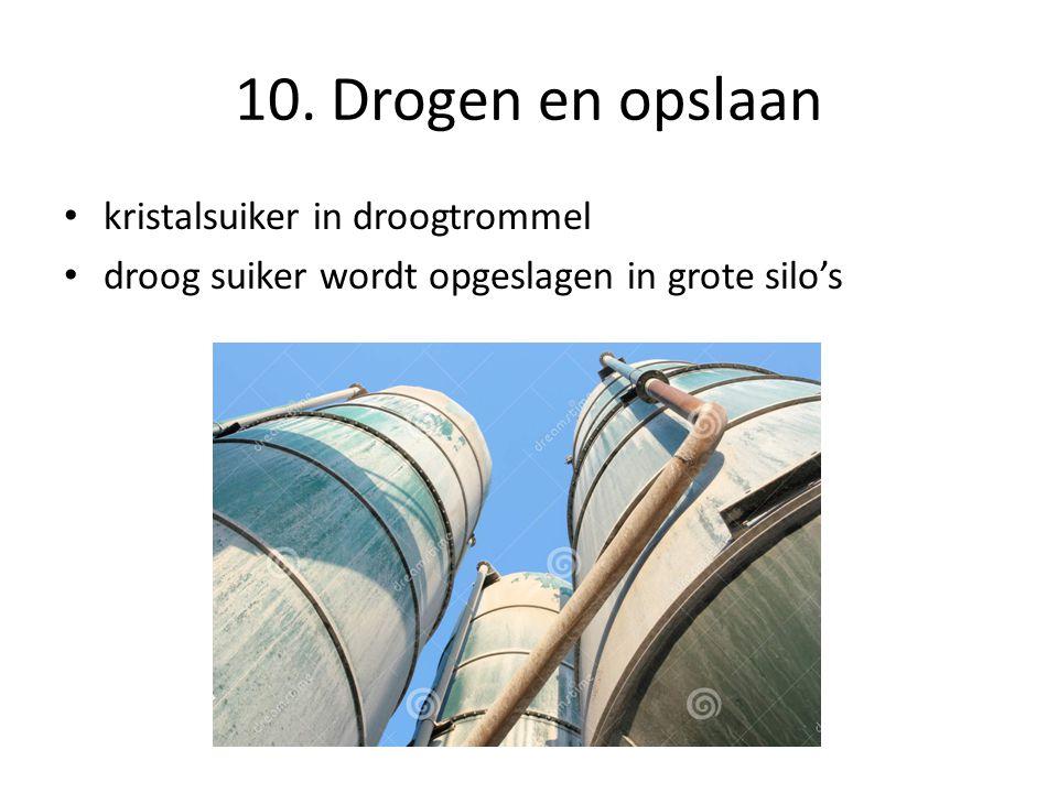10. Drogen en opslaan kristalsuiker in droogtrommel droog suiker wordt opgeslagen in grote silo's
