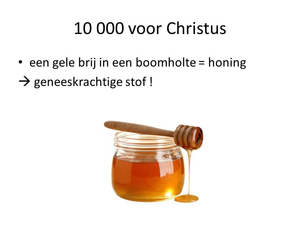 10 000 voor Christus een gele brij in een boomholte = honing  geneeskrachtige stof !