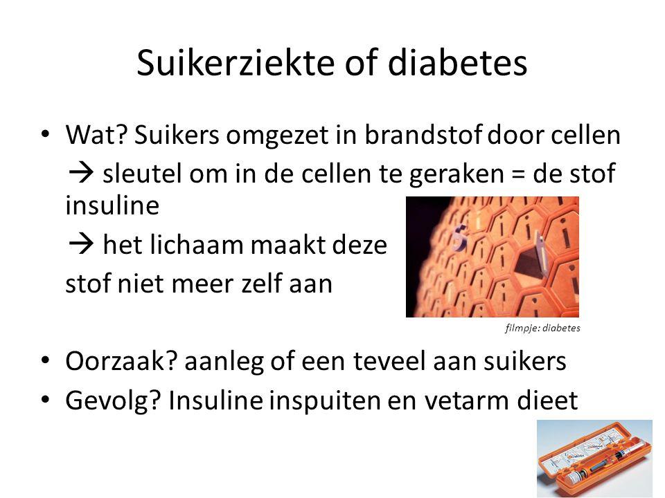 Suikerziekte of diabetes Wat? Suikers omgezet in brandstof door cellen  sleutel om in de cellen te geraken = de stof insuline  het lichaam maakt dez