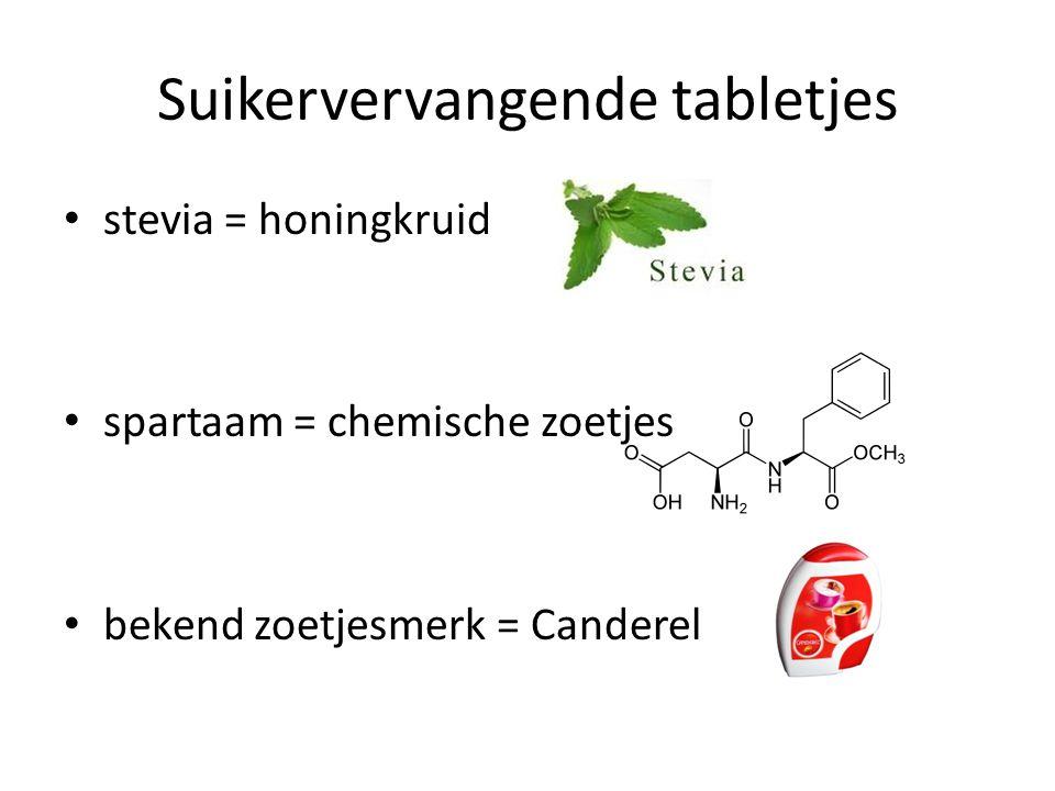 Suikervervangende tabletjes stevia = honingkruid spartaam = chemische zoetjes bekend zoetjesmerk = Canderel